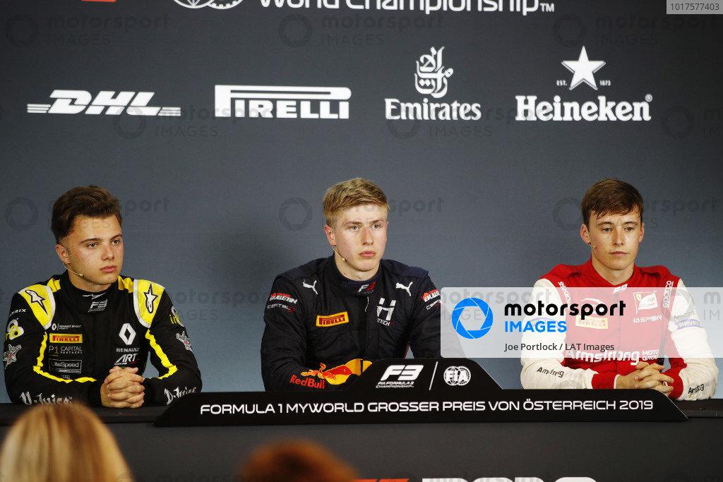 Max Fewtrell (GBR) ART Grand Prix, Juri Vips (EST) Hitech Grand Prix, and Marcus Armstrong (NZL) PREMA Racing, in the press conference