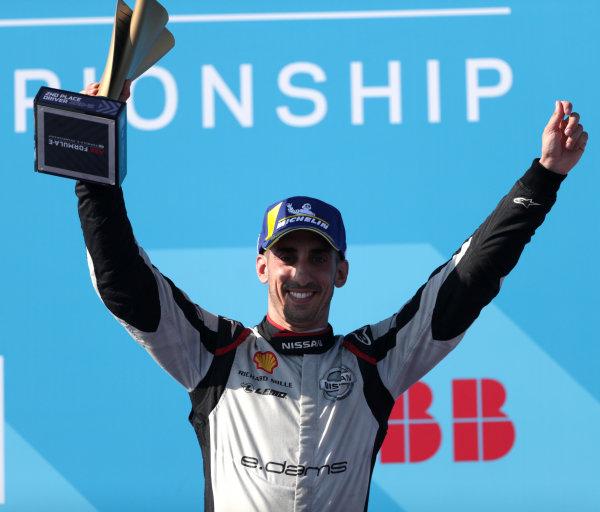 Sébastien Buemi (CHE), Nissan e.Dams, 2nd position, on the podium