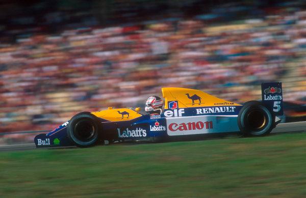 1992 German Grand Prix.Hockenheim, Germany.24-26 July 1992.Nigell Mansell (Williams FW14B Renault) 1st position.Ref-92 GER 02.World Copyright - LAT Photographic