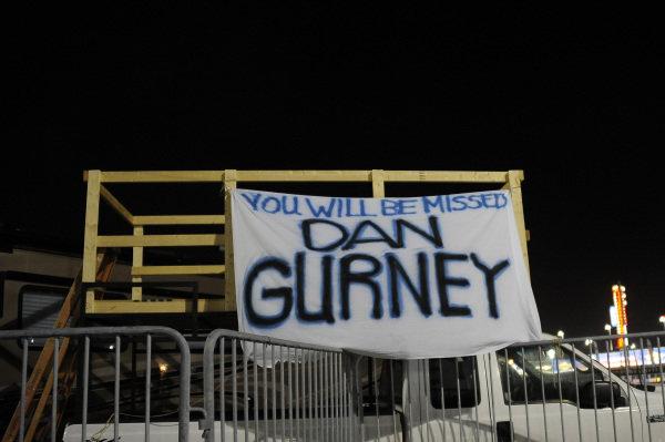 Banner in memory of Dan Gurney (USA) at Daytona 24 Hours, Daytona International Speedway, Daytona, USA, 27-28 January 2018.