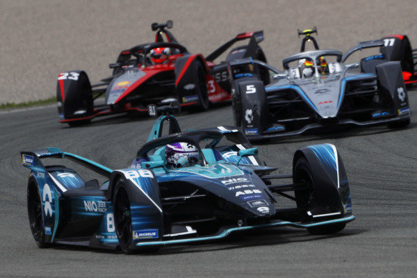 Tom Blomqvist (GBR), NIO 333, NIO 333 001, leads Stoffel Vandoorne (BEL), Mercedes Benz EQ, EQ Silver Arrow 02, and Sebastien Buemi (CHE), Nissan e.Dams, Nissan IMO2