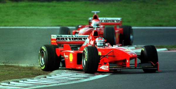 1998 Luxembourg Grand PrixNurburgring, Germany. 25-27 September 1998.Michael Schumacher (Ferrari F300) corrects a spin.World Copyright - Steve Etherington/LAT Photographic