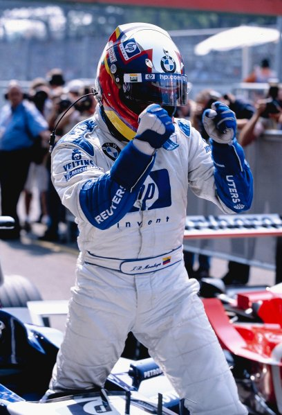 2002 Italian Grand PrixMonza, Italy. 14th - 16th September 2002Juan-Pablo Montoya, BMW Williams FW24 celebrates getting pole positionWorld Copyright - LAT Photographicref: 35mm Transparency 02_ITA_01