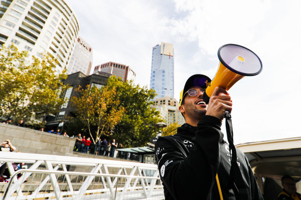 Daniel Ricciardo, Renault on the way to the Federation Square event.