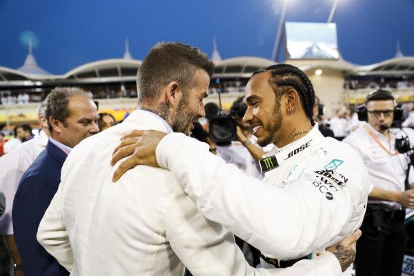 David Beckham, and Lewis Hamilton, Mercedes AMG F1 on the grid