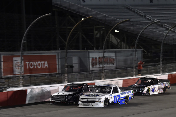 #02: Tate Fogleman, Young's Motorsports, Chevrolet Silverado Solid Rock Carriers #4: Raphael Lessard, Kyle Busch Motorsports, Toyota Tundra Mobil 1