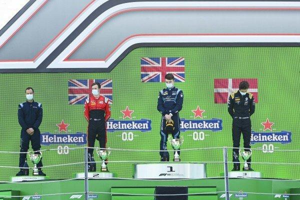 Winning Constructor Representative, Callum Ilott (GBR, UNI-VIRTUOSI), Race Winner Dan Ticktum (GBR, DAMS) and Christian Lundgaard (DNK, ART GRAND PRIX) on the podium