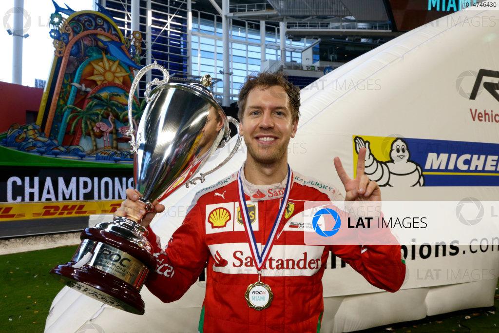 2017 Race of Champions Miami, Florida, USA Sunday 22 January 2017 Winner Nations Cup, Sebastian Vettel World Copyright: Alexander Trienitz/LAT Photographic ref: Digital Image 2017-RoC-MIA-AT1-1631