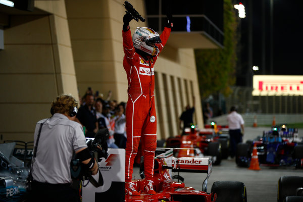 Bahrain International Circuit, Sakhir, Bahrain.  Sunday 16 April 2017. Sebastian Vettel, Ferrari, 1st Position, celebrates upon arrival in Parc Ferme. World Copyright: Andrew Hone/LAT Images ref: Digital Image _ONY8437