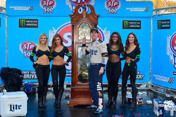 2017 Monster Energy NASCAR Cup Series STP 500 Martinsville Speedway, Martinsville, VA USA Sunday 2 April 2017 Brad Keselowski, Monster Girls in victory lane  World Copyright: Logan Whitton/LAT Images ref: Digital Image 17MART1LW2816