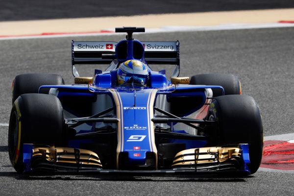 Bahrain International Circuit, Sakhir, Bahrain.  Tuesday 18 April 2017. Marcus Ericsson, Sauber C36 Ferrari. World Copyright: Glenn Dunbar/LAT Images ref: Digital Image _X4I2073