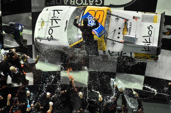 2017 Camping World Truck - NextEra Energy Resources 250 Daytona International Speedway, Daytona Beach, FL USA Friday 24 February 2017 Kaz Grala celebrates his win in Victory Lane World Copyright: Nigel Kinrade/LAT Images ref: Digital Image 17DAY2nk09932