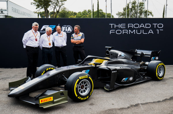 Autodromo Nazionale di Monza, Monza, Italy. Thursday 31 August 2017. The new F2 car is unveiled in the paddock. Photo: Zak Mauger/FIA Formula 2. ref: Digital Image _56I5250