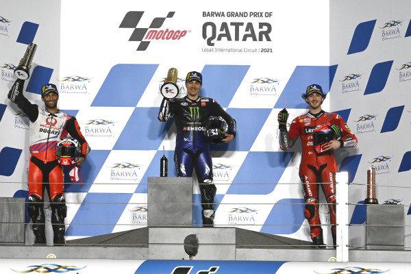 Podium: Johann Zarco, Pramac Racing, Maverick Vinales, Yamaha Factory Racing, Francesco Bagnaia, Ducati Team.