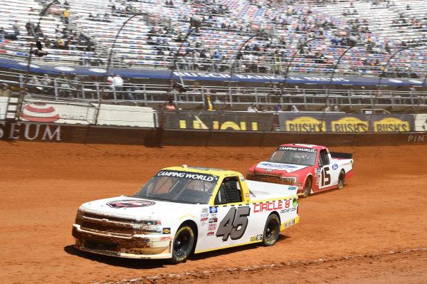 #45: Brett Moffitt, Niece Motorsports, Chevrolet Silverado Circle B Diecast, #15: Tanner Gray, Team DGR, Ford F-150 Ford Performance