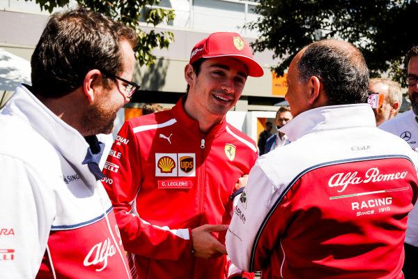 Frederic Vasseur, Team Principal, Alfa Romeo Racing and Charles Leclerc, Ferrari