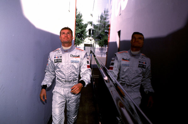 2000 French Grand Prix.Magny-Cours, France. 30/6-2/7 2000.David Coulthard (McLaren Mercedes) 1st position, makes his way to the grid.World Copyright - LAT PhotographicFormat: 35mm transparency