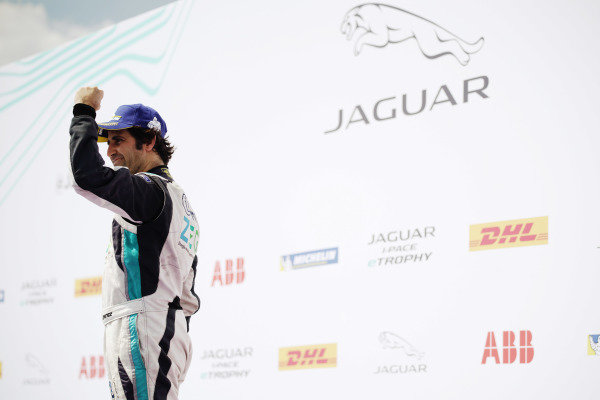 Race winner Sérgio Jimenez (BRA), Jaguar Brazil Racing celebrates on the podium
