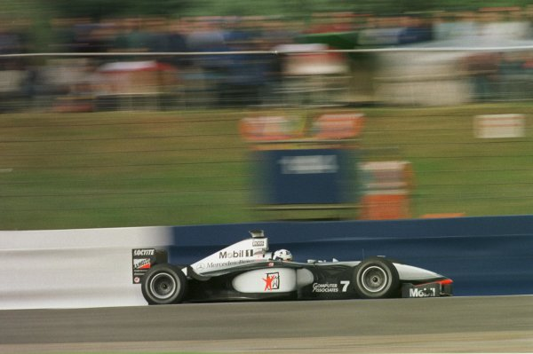 1998 British Grand Prix.Silverstone, England.10-12 July 1998.David Coulthard (McLaren MP4/13 Mercedes-Benz) during qualifying.World Copyright - LAT Photographic