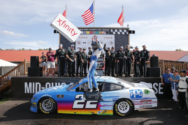 #22: Austin Cindric wins the B&L Transport 170 for  Team Penske in the Ford Mustang sponsored by PPG