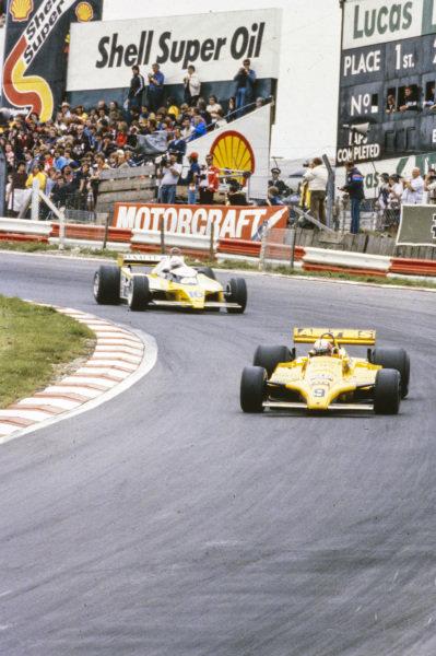 Marc Surer, ATS D4 Ford, leads René Arnoux, Renault RE20.