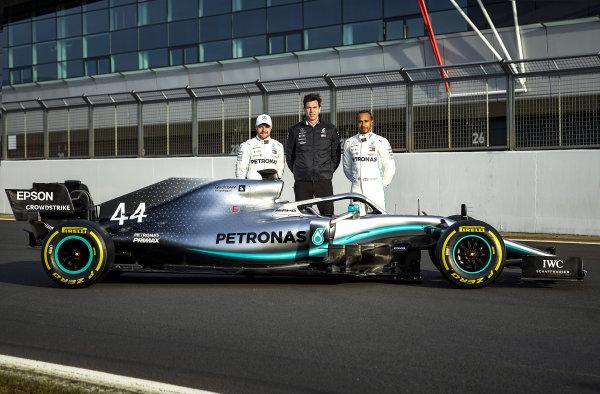 Valtteri Bottas, Mercedes AMG F1, Toto Wolff, Mercedes AMG F1 Director of Motorsport, Lewis Hamilton, Mercedes AMG F1 and the new Mercedes-AMG F1 W10 EQ Power+
