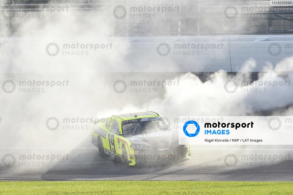 #19: Brandon Jones, Joe Gibbs Racing, Menards/Swiffer Toyota Supra celebrates his win