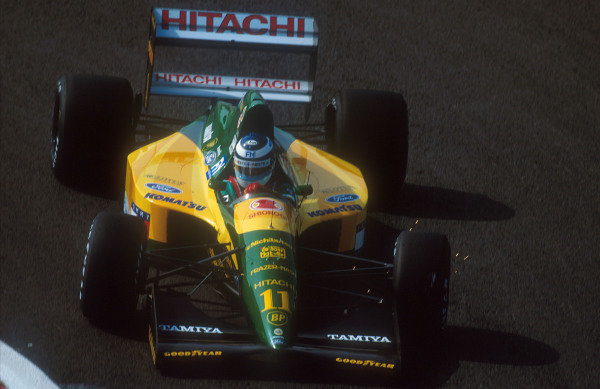 1992 French Grand Prix.Magny-Cours, France.3-5 June 1992.Mika Hakkinen (Lotus 107 Ford) 4th position.Ref-92 FRA 03.World Copyright - LAT Photographic