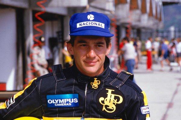 1985 Brazilian Grand Prix. Jacarepagua, Rio de Janeiro, Brazil. 5th - 7th April 1985. Ayrton Senna (Lotus 97T Renault), retired on his race debut, portrait. World Copyright: LAT Photographic. Ref: 85 BRA 34.