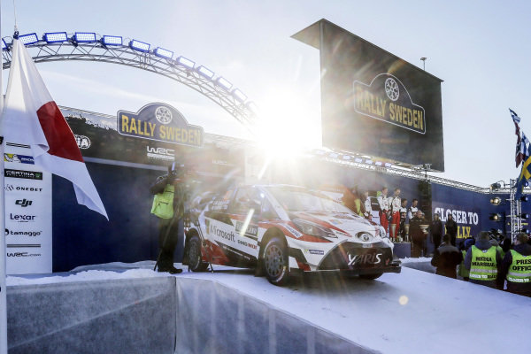 Rally winners Jari-Matti Latvala (FIN) / Miikka Anttila (FIN), Toyota Gazoo Racing Toyota Yaris WRC on the podium at World Rally Championship, Rd2, Rally Sweden, Day Three, Karlstad, Sweden, 12 February 2017.