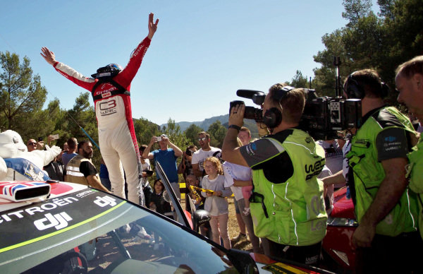 Rally winner Kris Meeke (GBR), Citroen Total Abu Dhabi World Rally Team WRC celebrates at World Rally Championship, Rd11, RAAC Rally de Espana, Day Three, Costa Daurada, Catalunya, Spain, 8 October 2017.