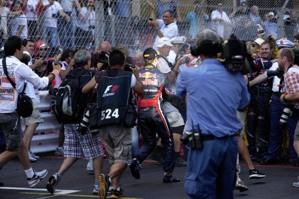 Sebastian Vettel celebrates.