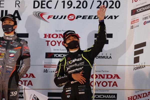 Nobuharu Matsushita ( #50 Buzz Racing with B-Max, Dallara SF19 Honda ) celebrates on the podium