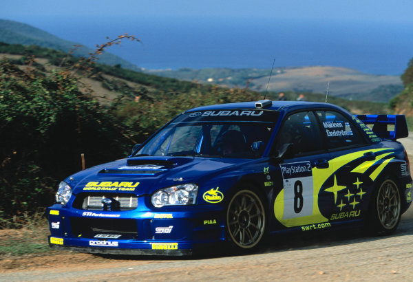 2003 World Rally Championship, Catalunya, Spain, Rd13. 23 - 26 October 2003.Tommi Makinen, Subaru Impreza WRC. ActionWorld Copyright: McKlein/LAT PhotographicRef: Transparency 03_WRC_Rd13_06