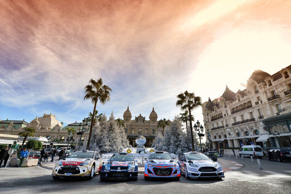 www.sutton-images.com -  Official Group Shot: Citroen DS3 WRC, Volkswagen Polo R WRC, Hyundai i20 WRC and Ford Fiesta RS WRC at the FIA World Rally Championship, Rd1, Rally Monte Carlo, Preparations and Shakedown, Monte Carlo, 22 January 2015. Photo Sutton Images