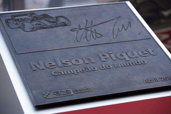 2008 Spanish Grand Prix - Thursday PreviewCircuit de Catalunya, Barcelona, Spain.24th April 2008.Nelson Piquet (Snr) Commemorative Plaque. Detail.World Copyright: Charles Coates/LAT Photographic.ref: Digital Image ZK5Y8301