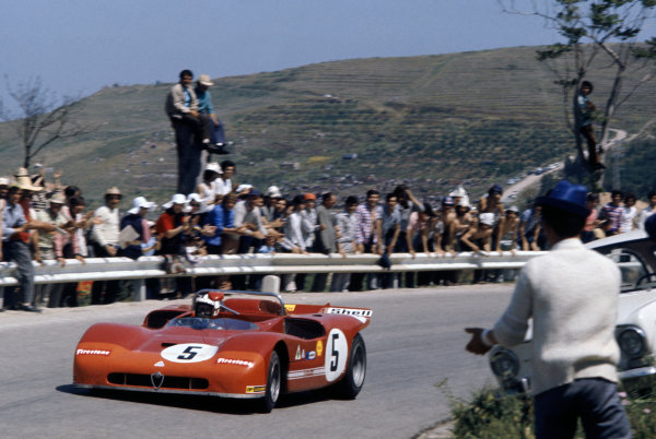 Little Madonie Circuit, Sicily, Italy. 16th May 1971. Rd 7.Nino Vaccarella/Toine Hezemans (Alfa Romeo T33/3), 1st position, action.World Copyright: LAT Photographic.