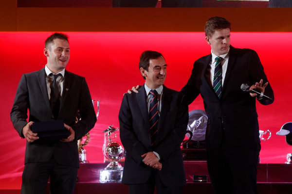 2015 British Racing Drivers Club Awards Grand Connaught Rooms, London Monday 7th December 2015 Nick Tandy and Pierre Fillon on stage with Jake Humphrey. World Copyright: Jakob Ebrey/LAT Photographic ref: Digital Image TandyFillon-02