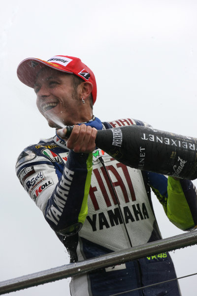Donington Park, England. 22nd June 2008.MotoGP Race.Championship leader Valentino Rossi extends his lead with 2nd place.World Copyright: Martin Heath/ LAT Photographicref: Digital Image