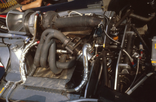 Osterreichring, Austria.13-15 August 1982.The turbocharged Hart 415T inline 4 engine in the back of a Toleman TG181C.Ref-82 AUT 21.World Copyright - LAT Photographic