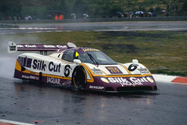 1987 Spa 1000 Kms. Spa-Francorchamps, Belgium. 13th September 1987. Rd 9. Martin Brundle/Johnny Dumfries/Raul Boesel (Jaguar XJR-8), 1st position, action. World Copyright: LAT Images.