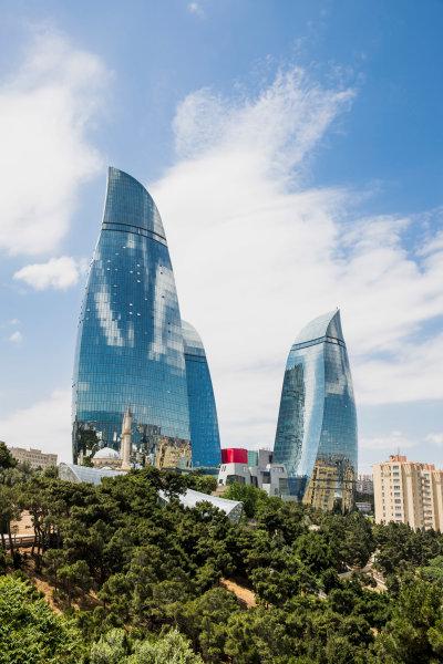 Baku City Circuit, Baku, Azerbaijan. Wednesday 21 June 2017. A view of the Flame Towers. World Copyright: Zak Mauger/LAT Images ref: Digital Image _56I5957