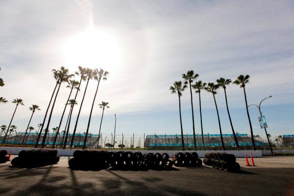 2014/2015 FIA Formula E Championship. Long Beach ePrix, Long Beach, California, United States of America. Friday 3 April 2015 Track construction. Photo: Zak Mauger/LAT/Formula E ref: Digital Image _MG_5117