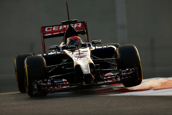 Yas Marina Circuit, Abu Dhabi, United Arab Emirates. Tuesday 25 November 2014. Max Verstappen, Toro Rosso STR9 Renault.  World Copyright: Sam Bloxham/LAT Photographic. ref: Digital Image _SBL8543