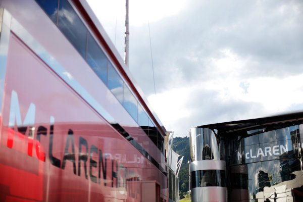 Red Bull Ring, Spielberg, Austria. Friday 19 June 2015. The McLaren Honda trucks and Brand Centre. World Copyright: Alastair Staley/LAT Photographic. ref: Digital Image _79P7574