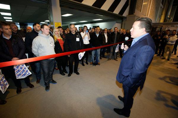 Autosport International Exhibition. National Exhibition Centre, Birmingham, UK. Thursday 12 January 2017. Zak Brown opens the 2017 Autosport International show. World Copyright: Sam Bloxham/LAT Photographic. Ref: _SLB4335