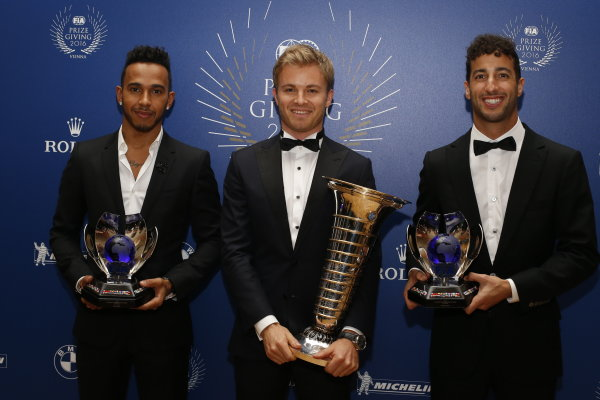 2016 FIA Prize Giving Vienna, Austria Friday 2nd December 2016 Nico Rosberg poses for a picture with Lewis Hamilton and Daniel Ricciardo and their trophies. Photo: Copyright Free FOR EDITORIAL USE ONLY. Mandatory Credit: FIA ref: 30559270674_59fd5b5339_o