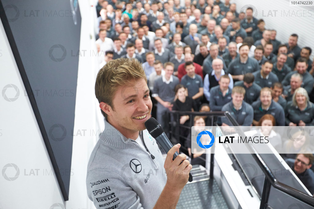 2016 Mercedes AMG F1 World Championship Celebrations. Mercedes F1, Brackley, UK Thursday 1st December 2016. F1 World Champion Nico Rosberg pays a visit to the factory with the FIA trophy. Photo: Steve Etherington/LAT Photographic ref: Digital Image SNE22643