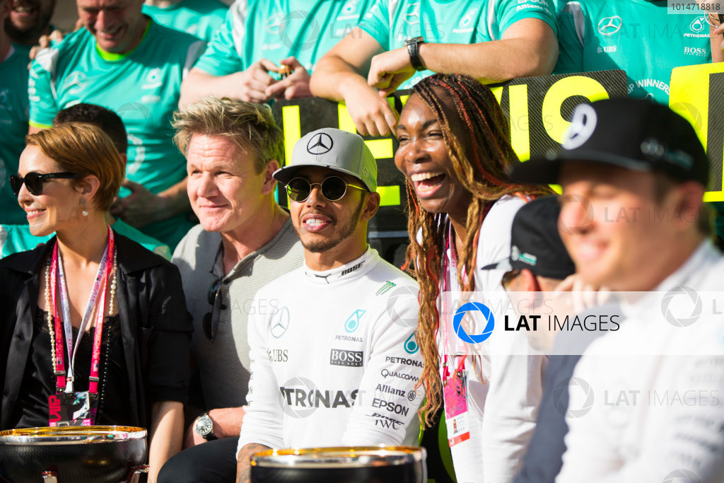 Circuit of the Americas, Austin Texas, USA. Sunday 23 October 2016. Lewis Hamilton, Mercedes AMG, 1st Position, the Mercedes team and celebrities including Actress Noomi Rapace, Chef Gordon Ramsay and Tennis star Venus Williams, celebrate after the race. World Copyright:Andrew Hone/LAT Photographic ref: Digital Image _ONY9010