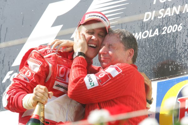 2006 San Marino Grand Prix - Sunday Race Imola, Italy. 20th - 23rd April 2006 Michael Schumacher, Ferrari 248F1, 1st position, and Jean Todt, podium. World Copyright: Lorenzo Bellanca/LAT Photographic ref: Digital Image ZD2J7947